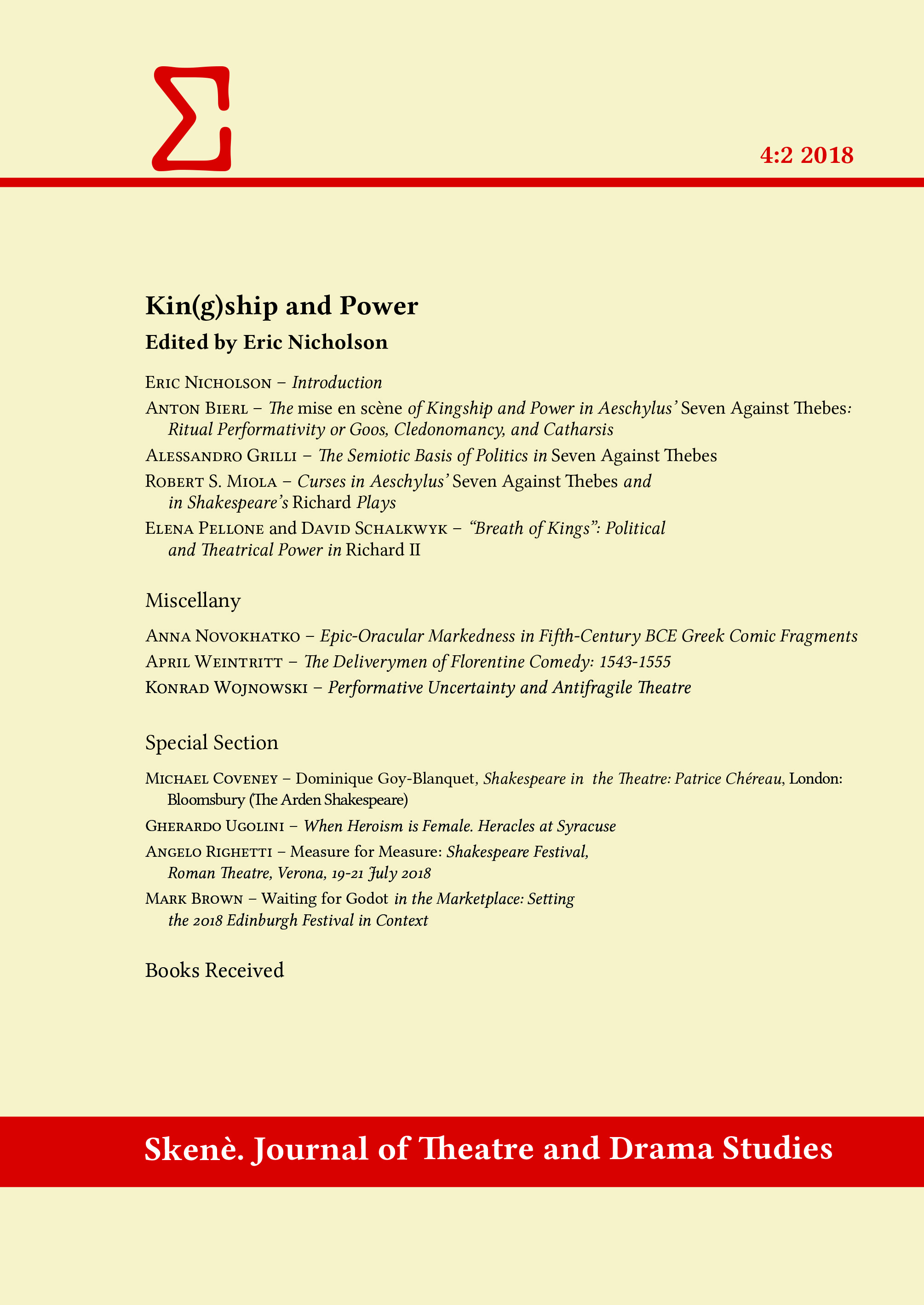 View Vol. 4 No. 2 (2018): Kin(g)ship and Power