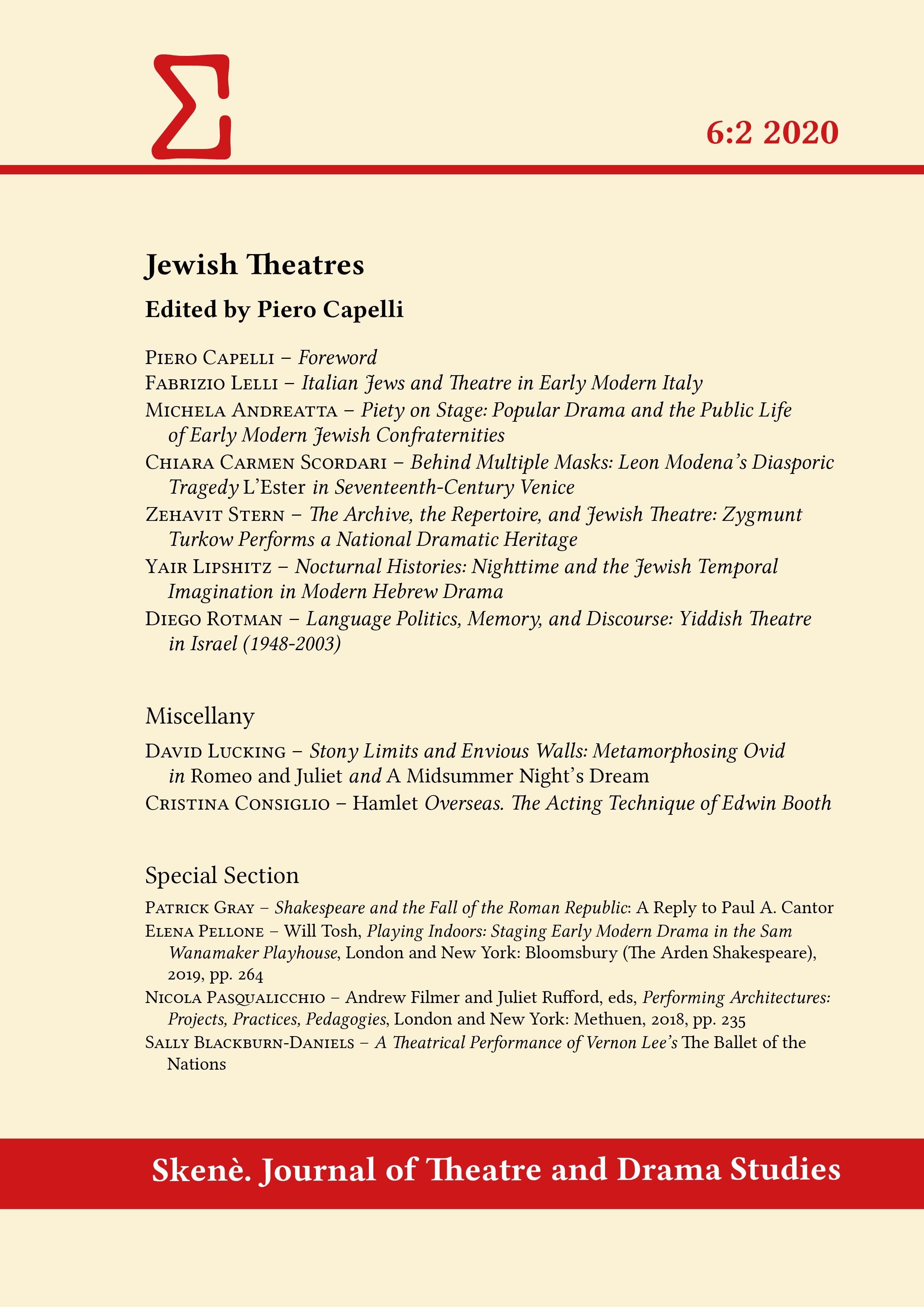 View Vol. 6 No. 2 (2020): Jewish Theatres